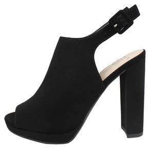 ZUPPY Black Peep Toe Slingback Block Heel Sandals